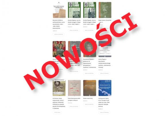 """Baner promujący nowości wydawnicze: okładki nowych książek przykryte napisem """"Nowości"""""""
