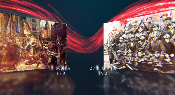 Okładka nagrania - zestawienie dat Konstytucji 3 Maja oraz wybuchu III Powstania Śląskiego