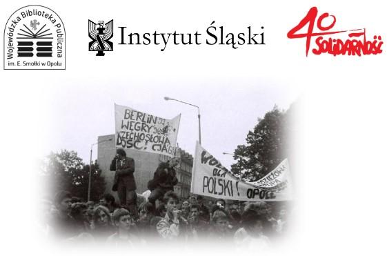 Ilustracja o funkcji dekoracyjnej - loga organizatorów spotkania zdjęcie z protestów solidarnościowych