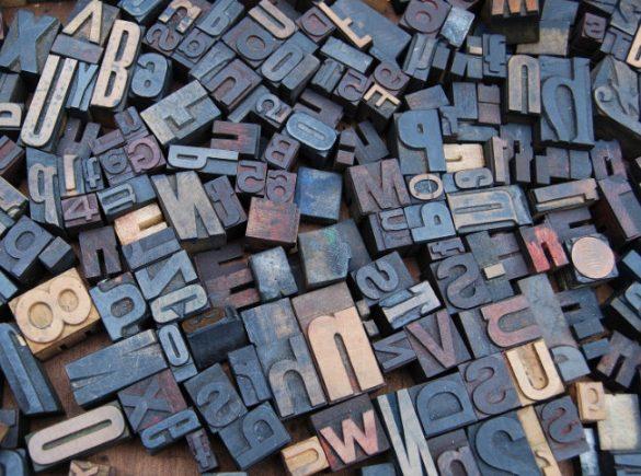 Zdjęcie czcionek drukarskich - funkcja dekoracyjna