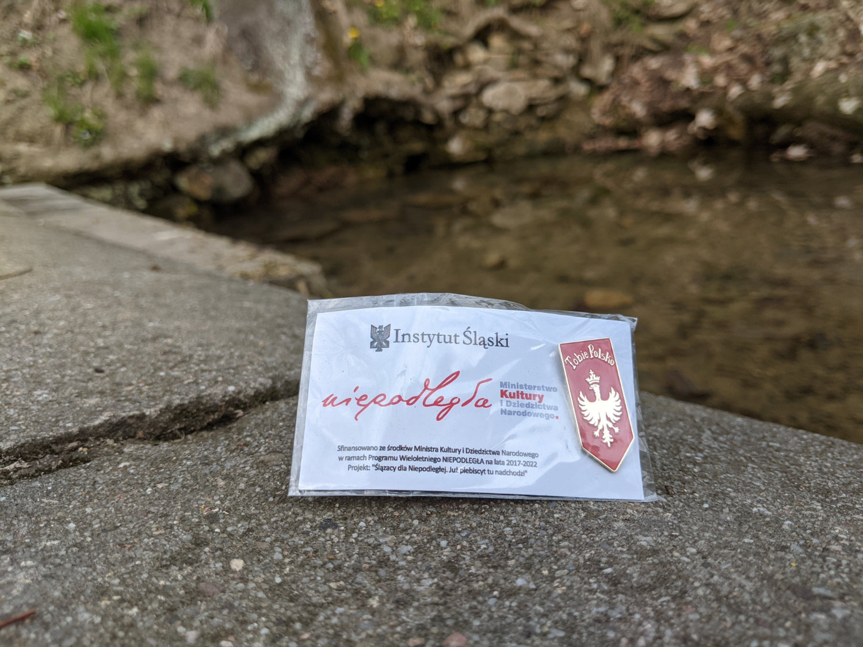 """Przypinka """"Tobie Polsko"""" w pobliżu źródła na Górze św. Anny"""