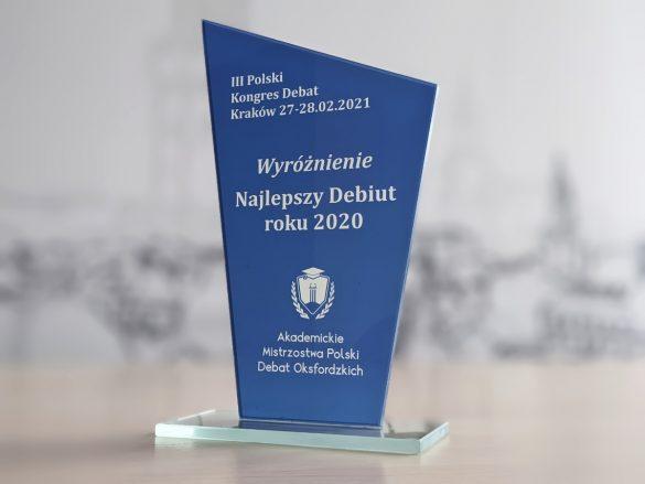 Statuetka - Wyróżnienie Akademickich Mistrzostw Polski Debat Oksfordzkich