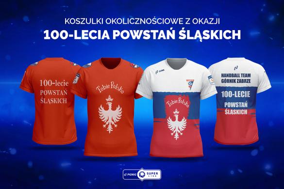 Okolicznościowe koszulki Gwardii Opole i Górnika Zabrze, ze sztandarem powstańczym