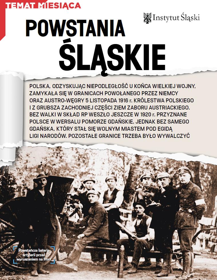 """Pierwsza strona artykułu """"Powstania Śląskie"""" dra B. Kuświka"""